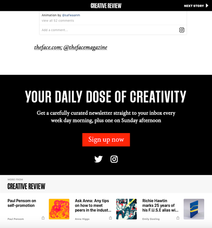 Creative Review Apple News Footer
