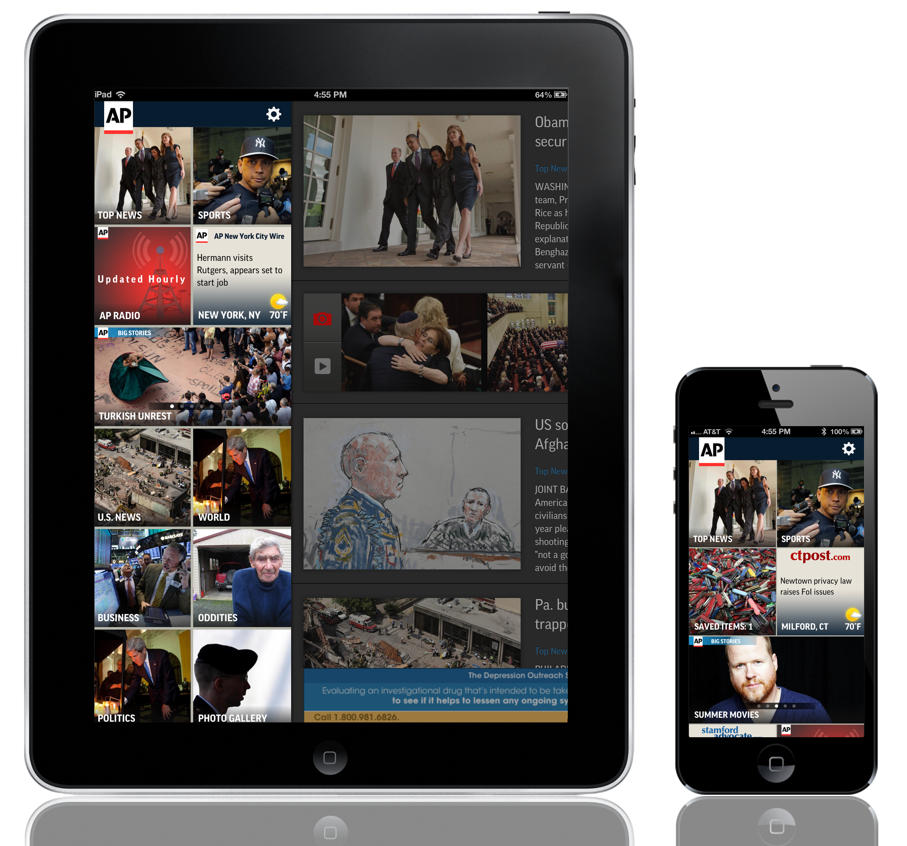 AP News iPad and Mobile User Interface