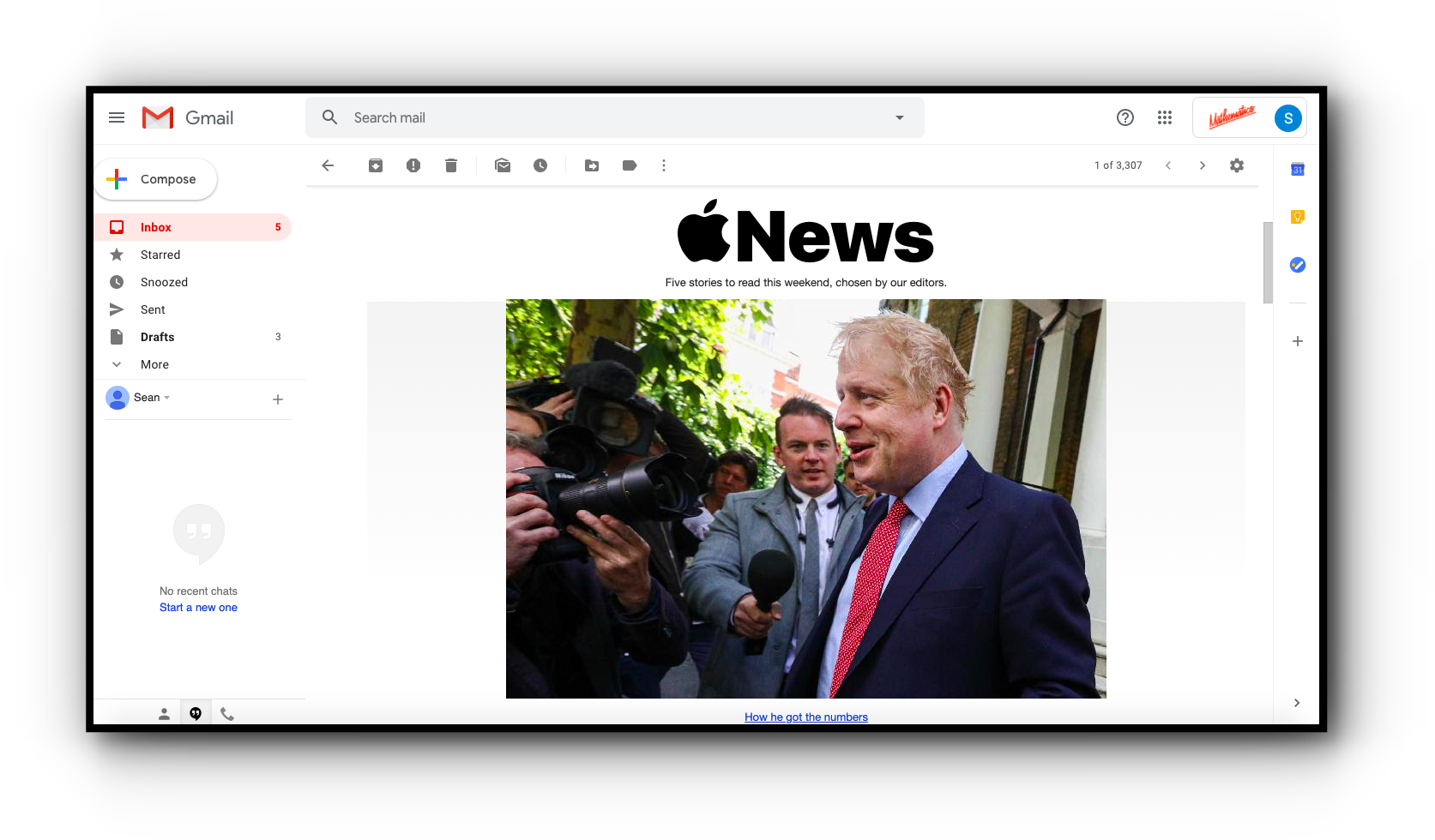 An example Apple News email newsletter