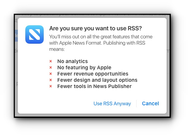 Apple News RSS integration warning message