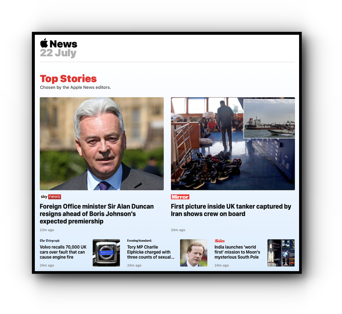 Apple News Top Stories, July 22