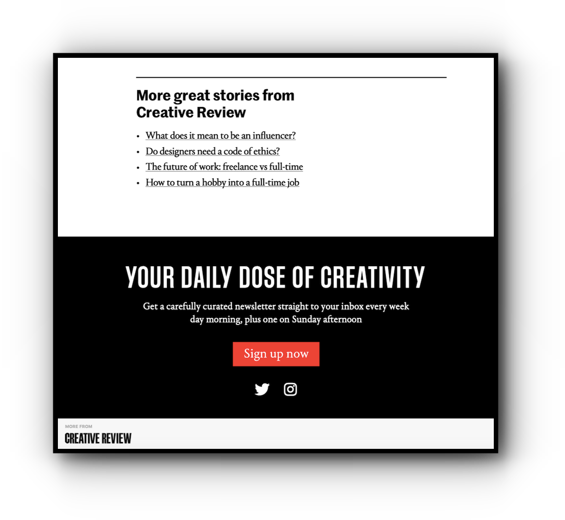 Creative Review's custom Apple News footer