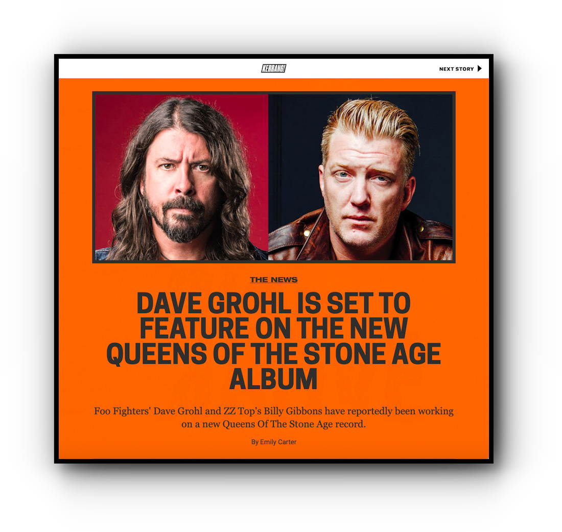 Kerrang! Apple News story on desktop