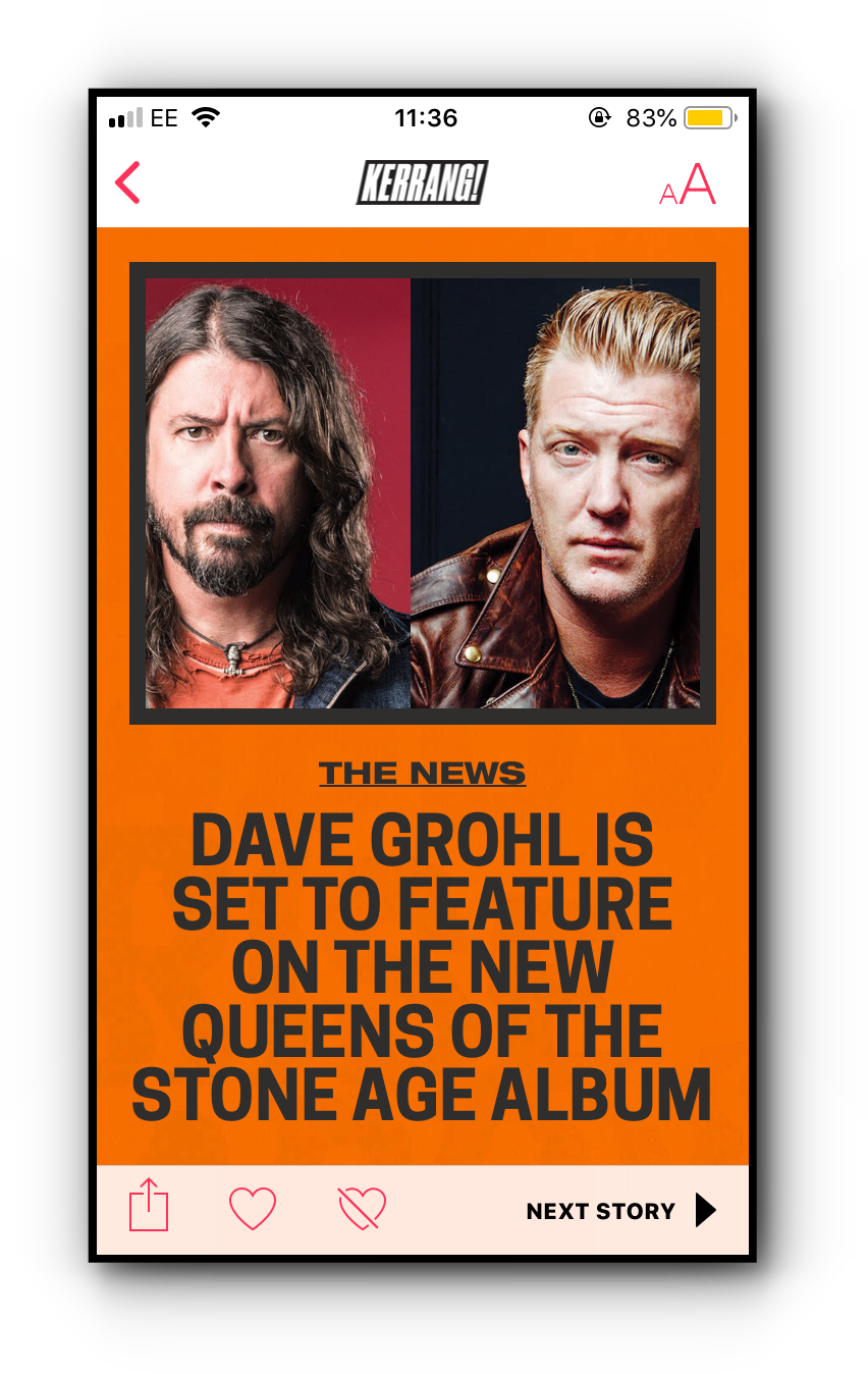 Kerrang! Apple News story on iPhone