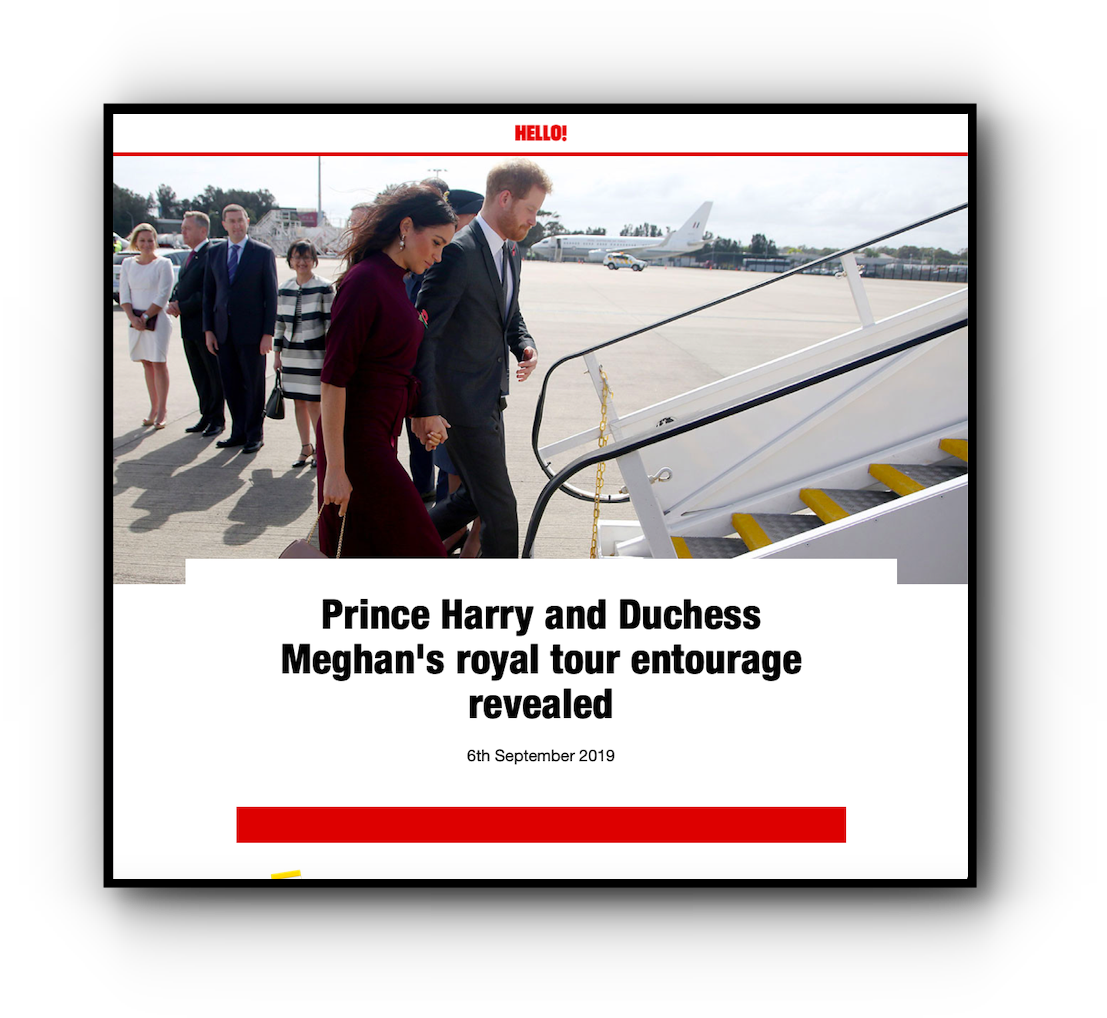 Hello! magazine Prince Harry and Duchess Meghan's entourage story desktop