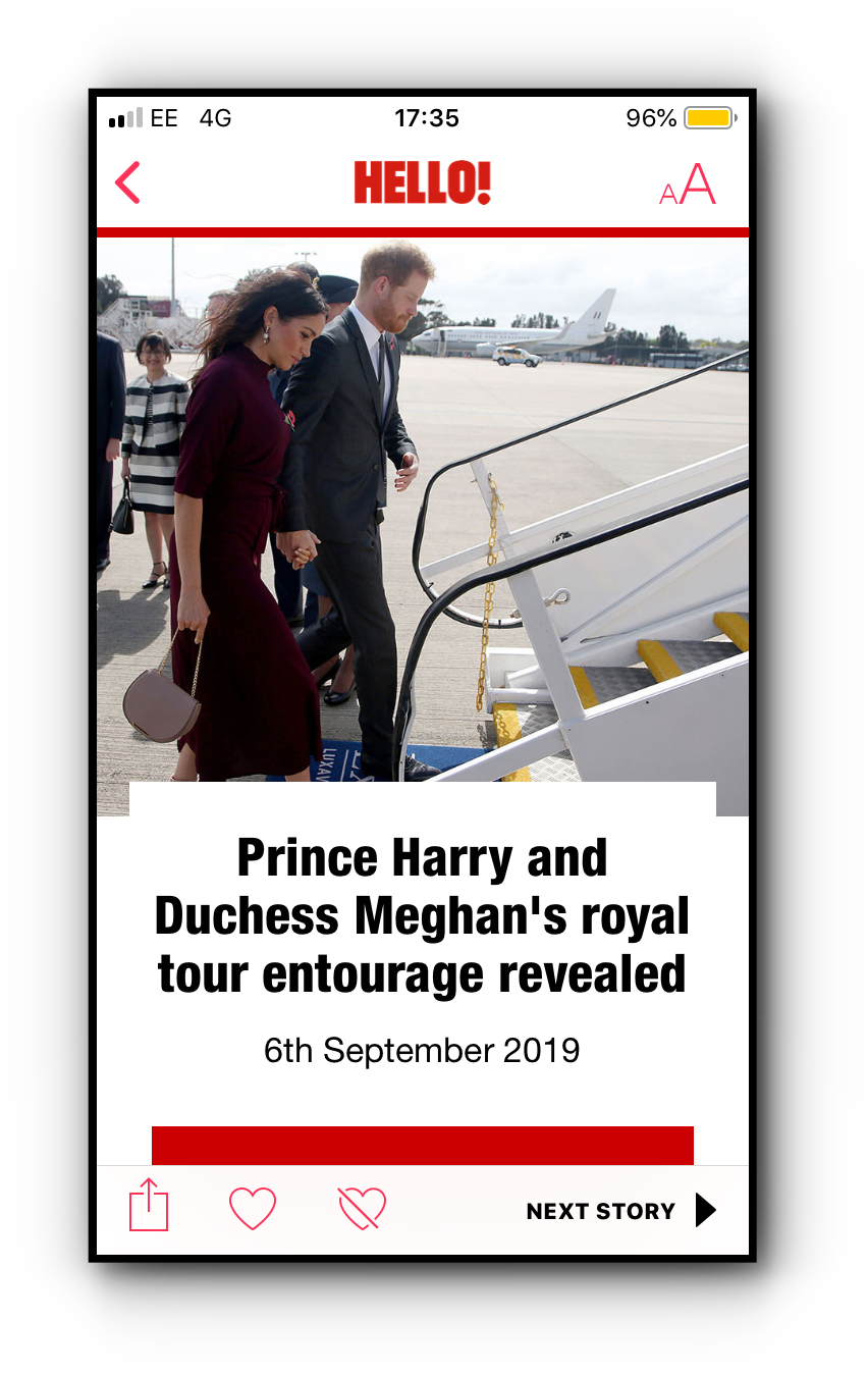 Hello! magazine's Prince Harry and Duchess Meghan entourage story mobile