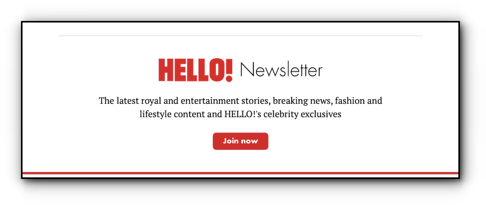Hello! magazine's custom Apple News footer