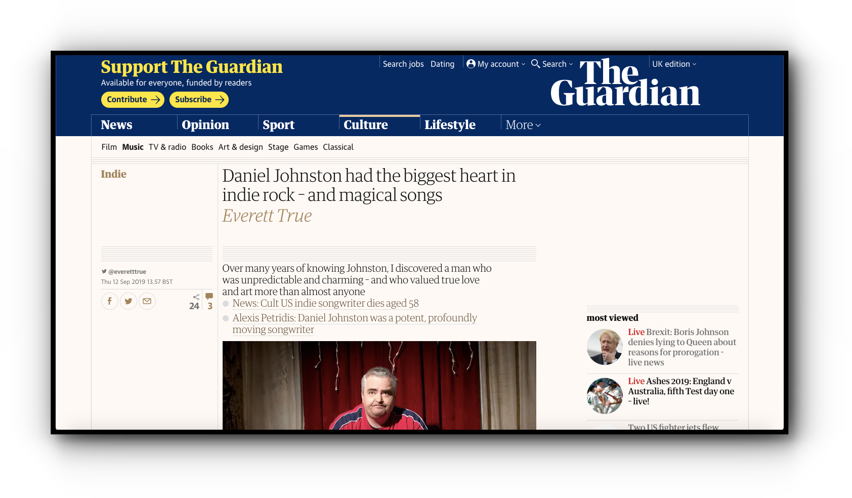 The Guardian's subtle on-site branding