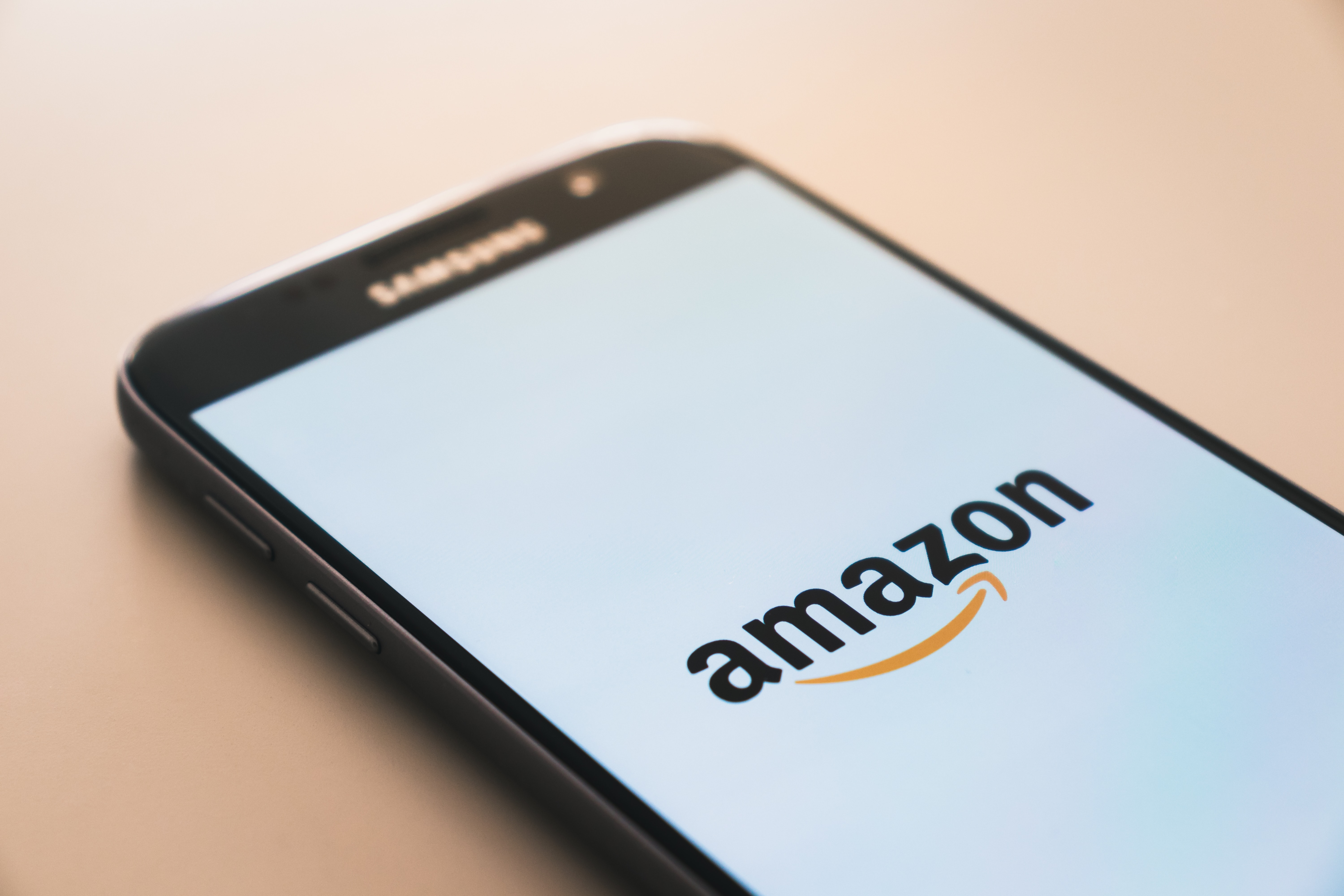 Smartphone with amazon logo