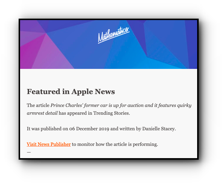 A FlatPlan Notify Apple News Analytics notification