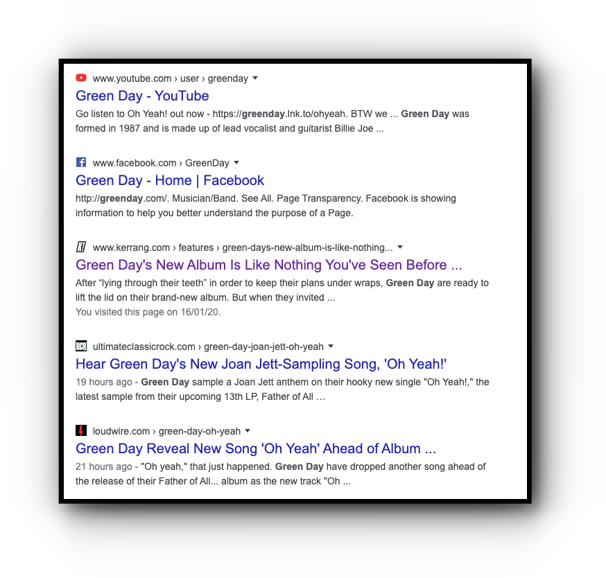 Green Day editorial SEO search ranking