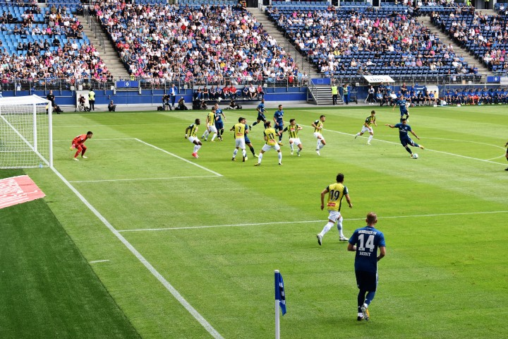 Football match pictured from the corner