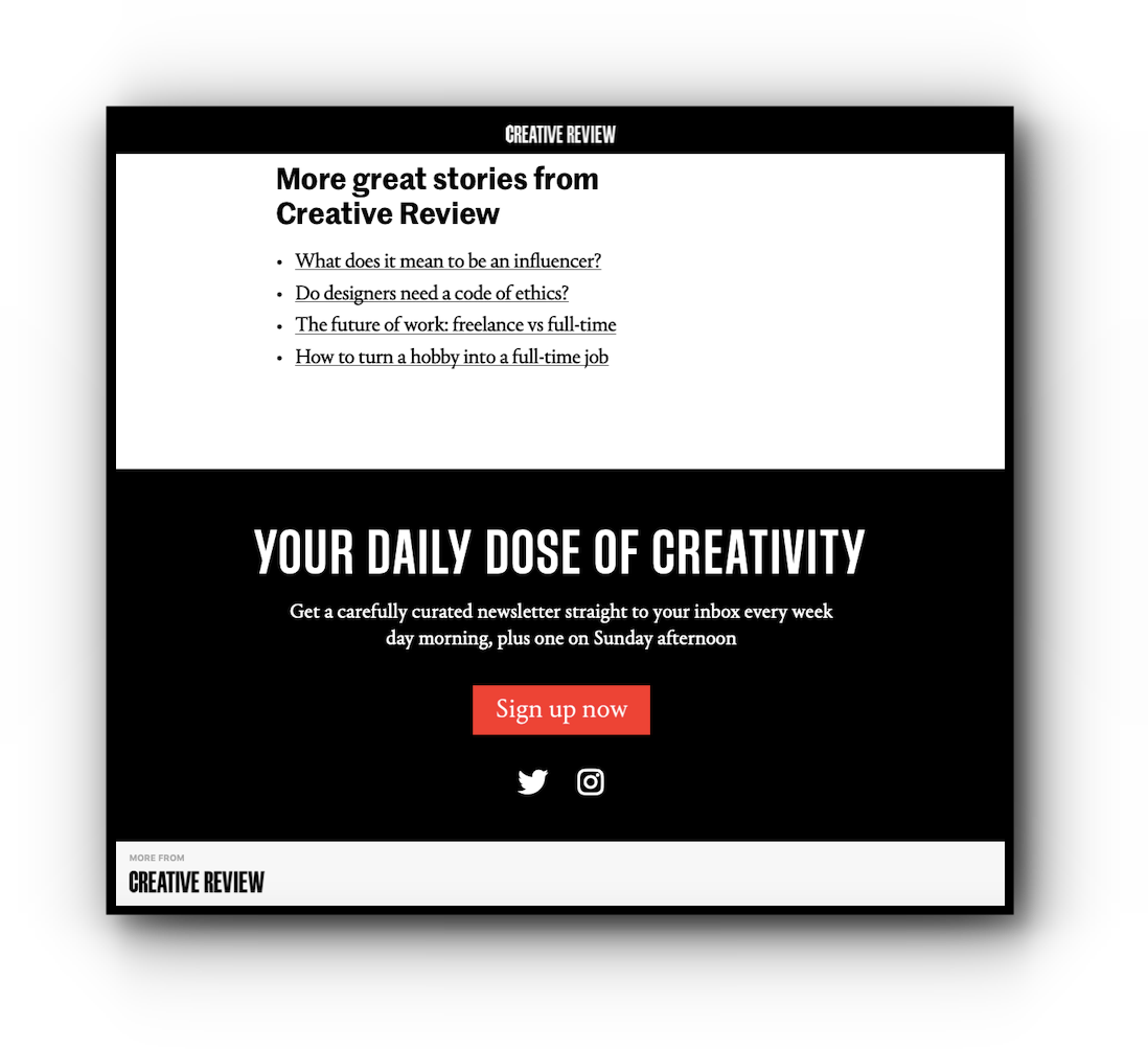 Creative Review's Apple News footer by FlatPlan